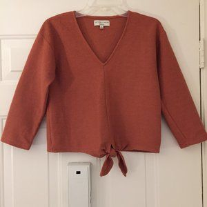 Madewell Texture & Thread Tie Front Top XS